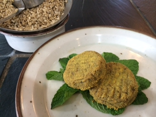 """Here are two """"molded"""" cheeses, pictured with soaked wet sunflower seeds, which went into making them."""