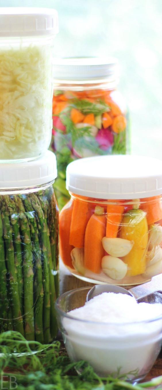 several jars of fermented vegetables