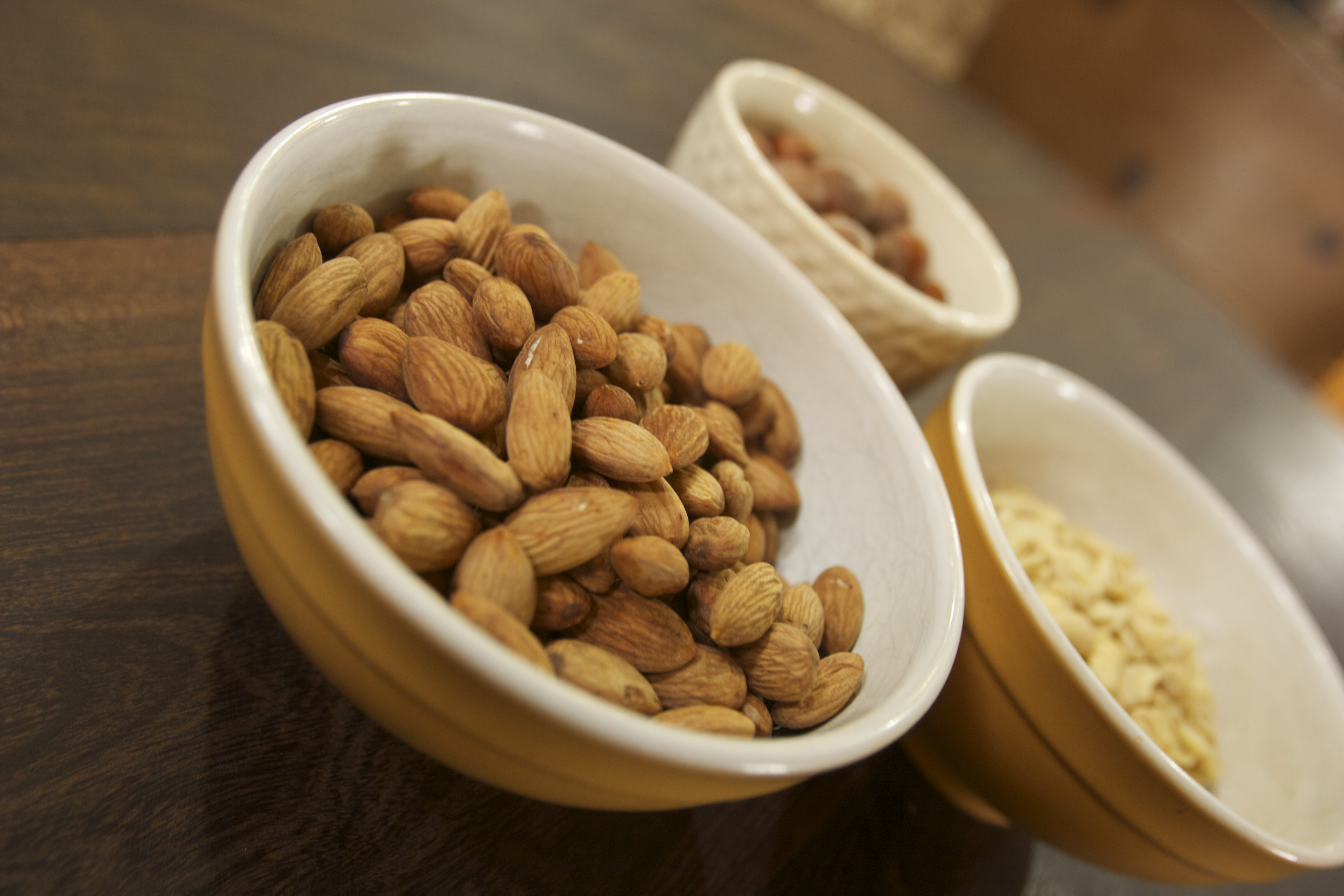 bowls of sprouted nuts
