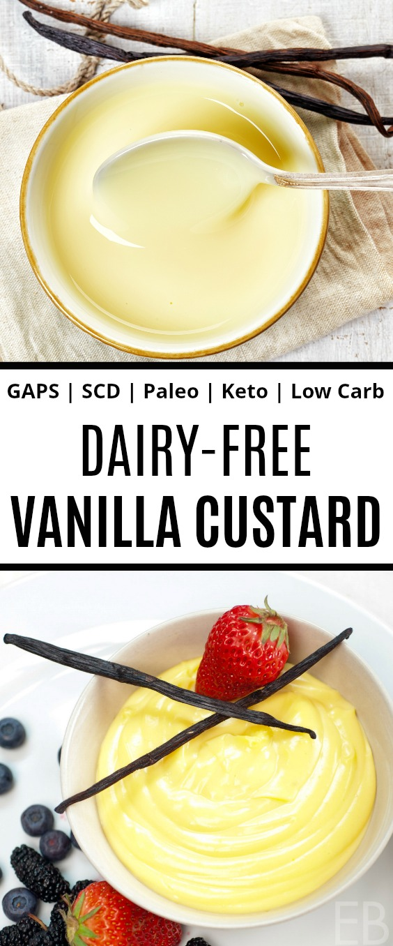 two dishes of vanilla custard that's dairy-free, one with a spoon in the dish and one with berries