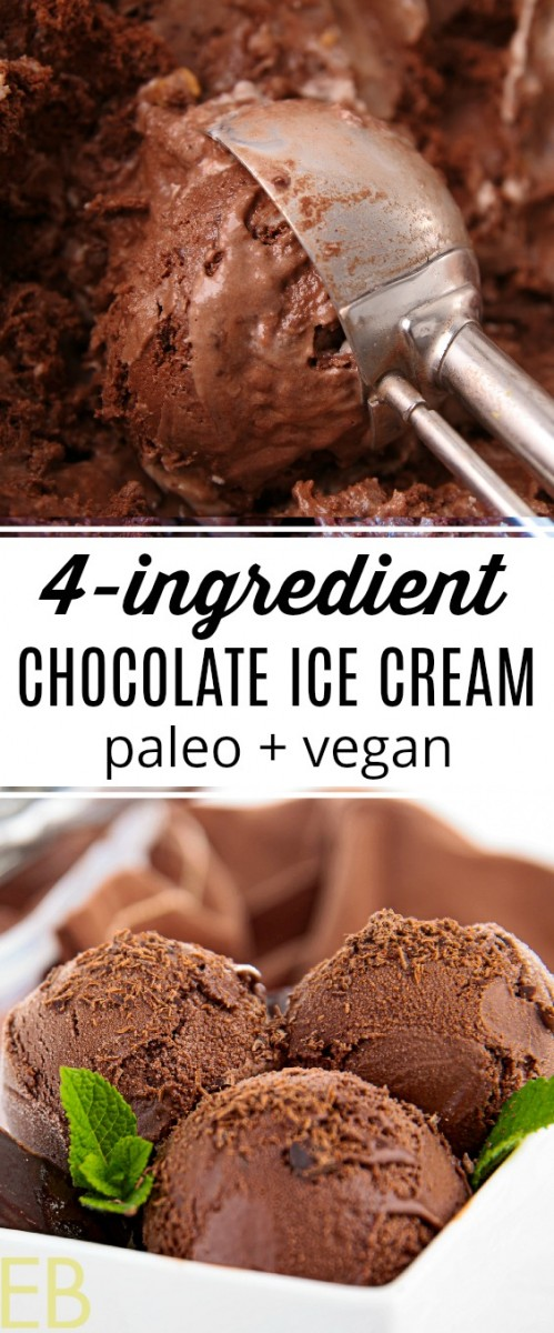 scoops of paleo vegan chocolate ice cream
