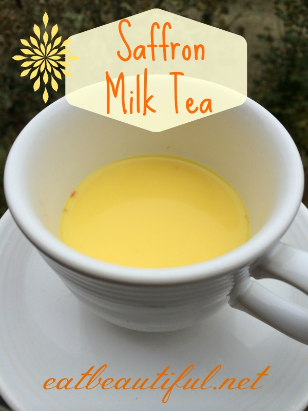 Saffron Milk Tea is an Indian healing tea. This nourishing version includes raw milk, (although I include a dairy-free variation). It is wonderful to drink before bed to help with depression and insomnia. The elixir has a lovely flavor, floral and tea-like.