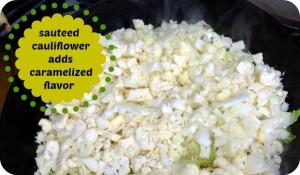 cauliflower being sauteed