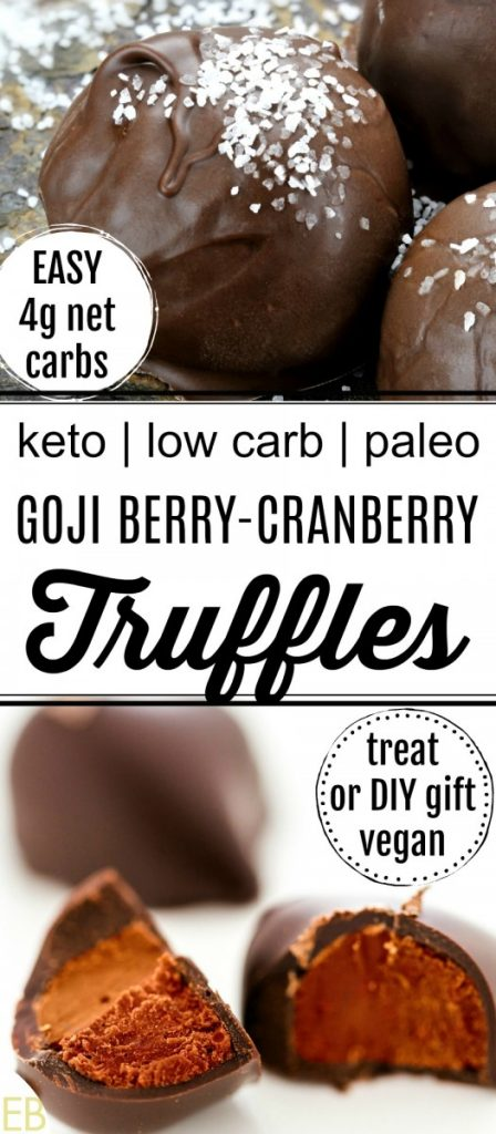 chocolate truffles with goji cranberry filling