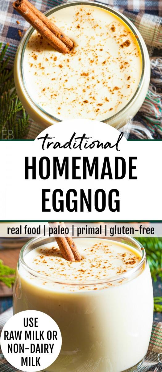 a glass of traditional eggnog
