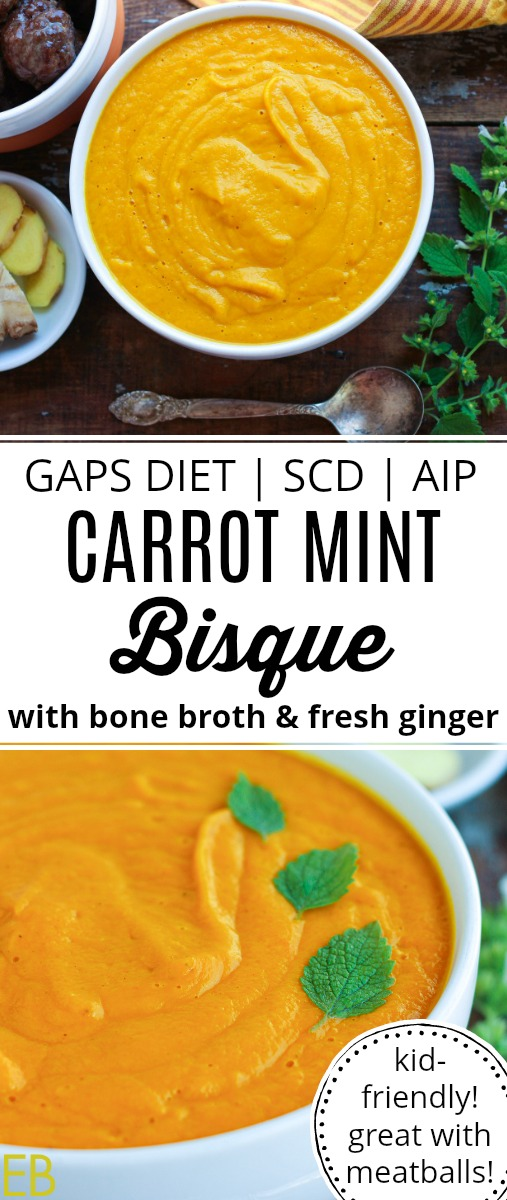 white bowl with carrot mint bisque