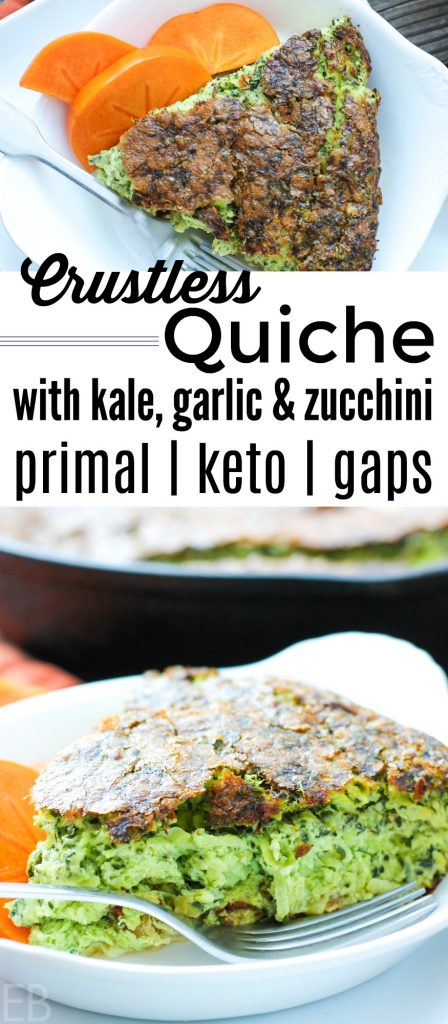 A piece of crustless quiche with kale, garlic and zucchini