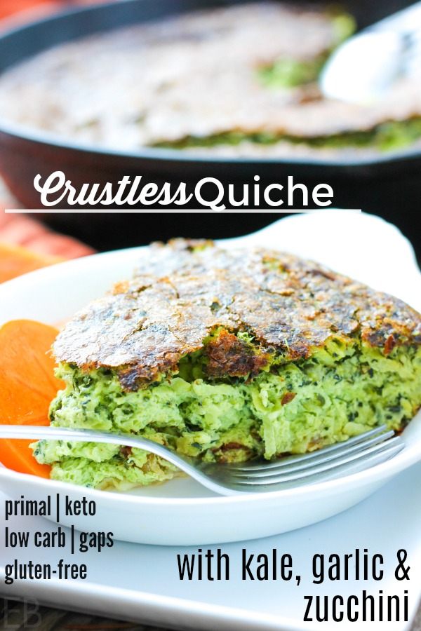 one piece of crustless quiche on a plate