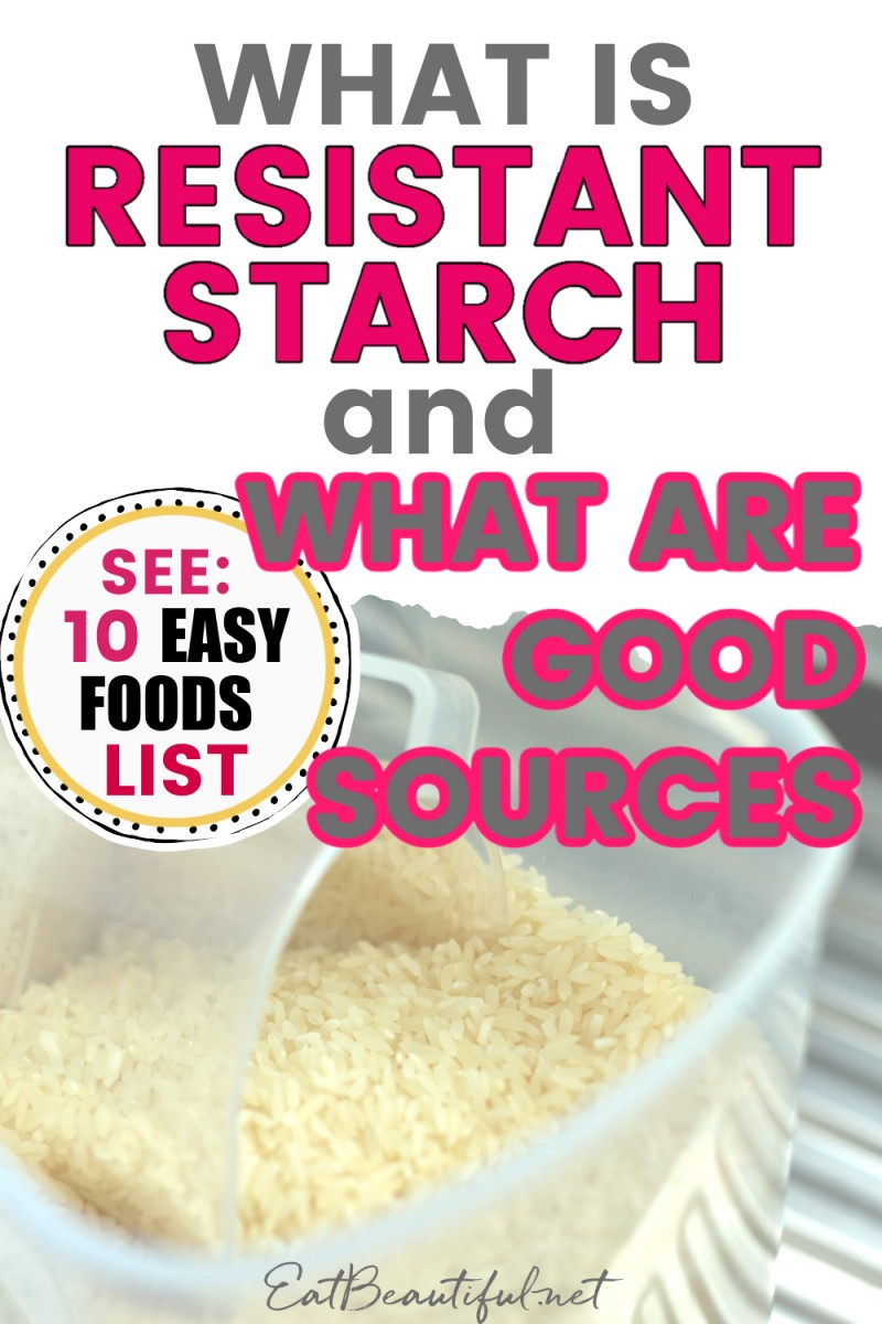 image of rice with words on top about resistant starch