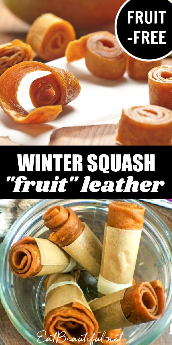 two images of rolled up winter squash fruit leather
