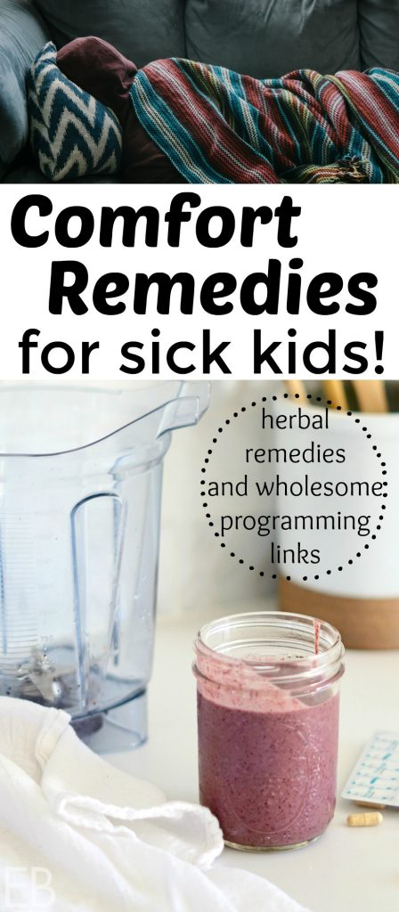 Especially when your kids are young, you long to comfort them through uncomfortable colds and flu. Sometimes you need an herbal remedy; other times you just need a wholesome TV show to distract them (and comfort yourself!). Reducing stress helps the body to heal itself! What follow are soothing remedies, both calm entertainment options we found to be wholesome and good, and herbal remedies that bring comfort. #sick #remedy