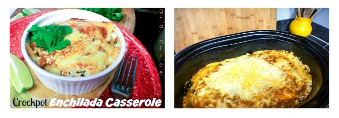 two photos of crock pot enchilada casserole: one is served in a dish and the other is still in the slow cooker