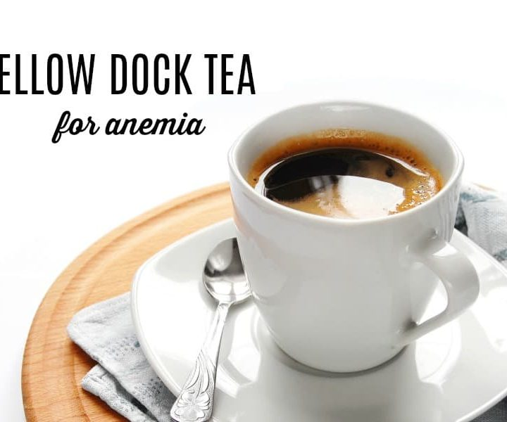 mug of high in iron yellow dock tea for anemia