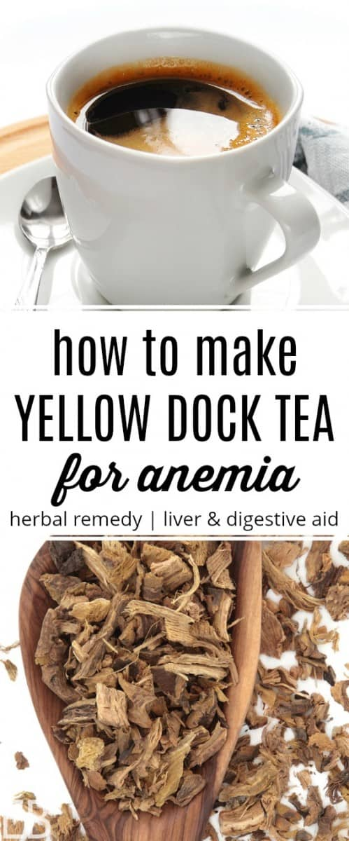 mug of yellow dock tea for anemia and the dry root