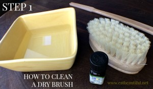 "Find a bowl that the brush fits into easily. Fill the bowl with water slightly lower than the bristles are tall, about 1"". Add 3 drops tea tree essential oil."