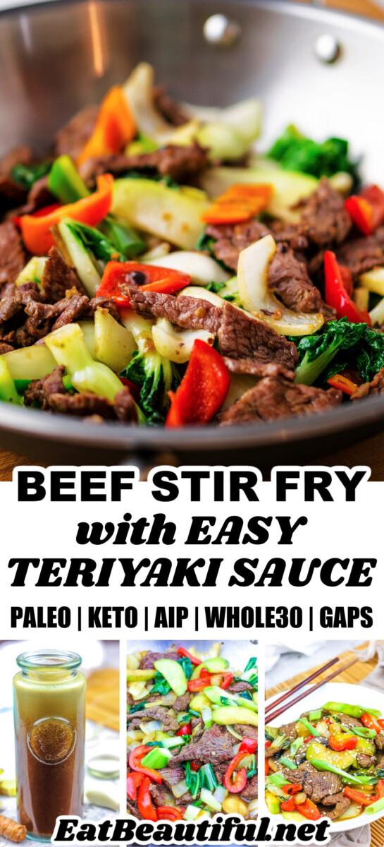 4 images of paleo beef stir fry