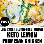 two images of keto lemon parmesan chicken with banner in the middle