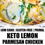two images of keto chicken in casserole dish with banner and words in the middle