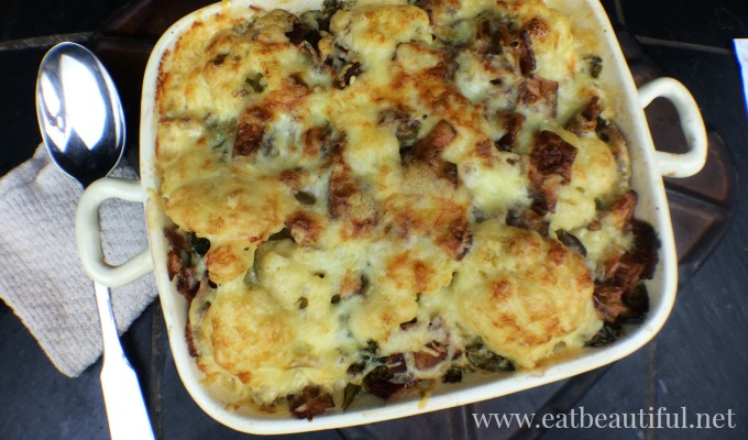 Cauliflower Au Gratin with bacon and mustard greens
