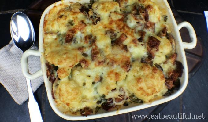 Cauliflower Au Gratin with bacon and mustard greens
