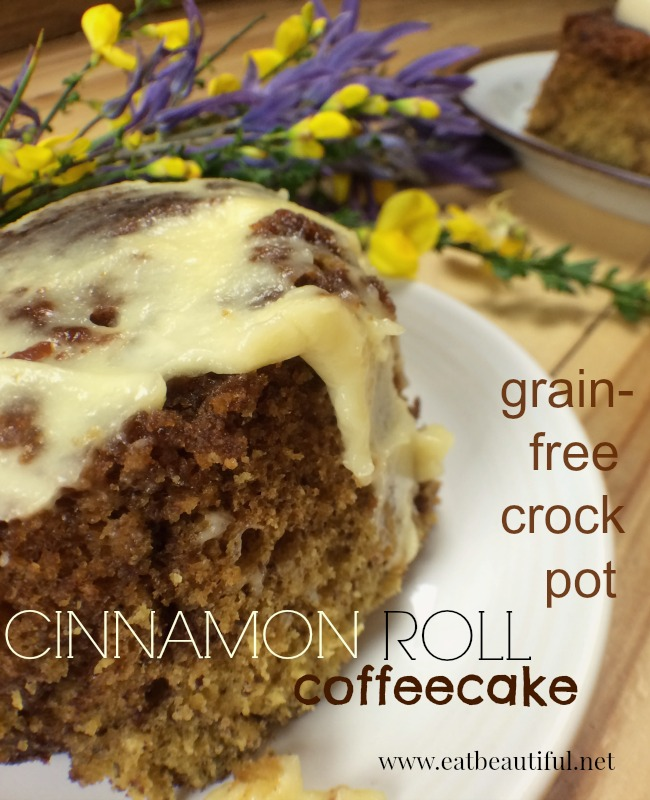 This breakfast dish is high in protein and good fat as well as being classic coffeecake-- a grain-free version. Serve with cream cheese frosting or pour cream or raw milk over it. Like bread pudding porridge-- yumm! It can be made the same day you intend to eat it, taking 2 hours to cook slowly. Or placing your crock pot on warm overnight will do the trick too.