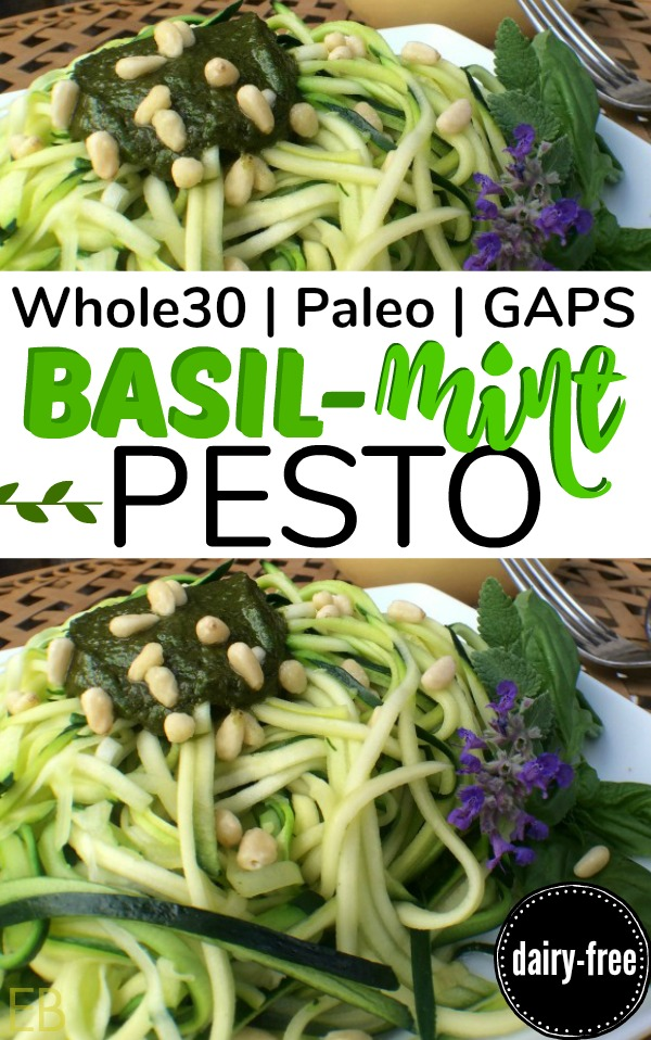 BASIL-MINT PESTO {dairy-free, Whole30, Paleo, GAPS} #whole30pesto #gapspesto #dairyfreepesto #paleopesto #pestonocheese