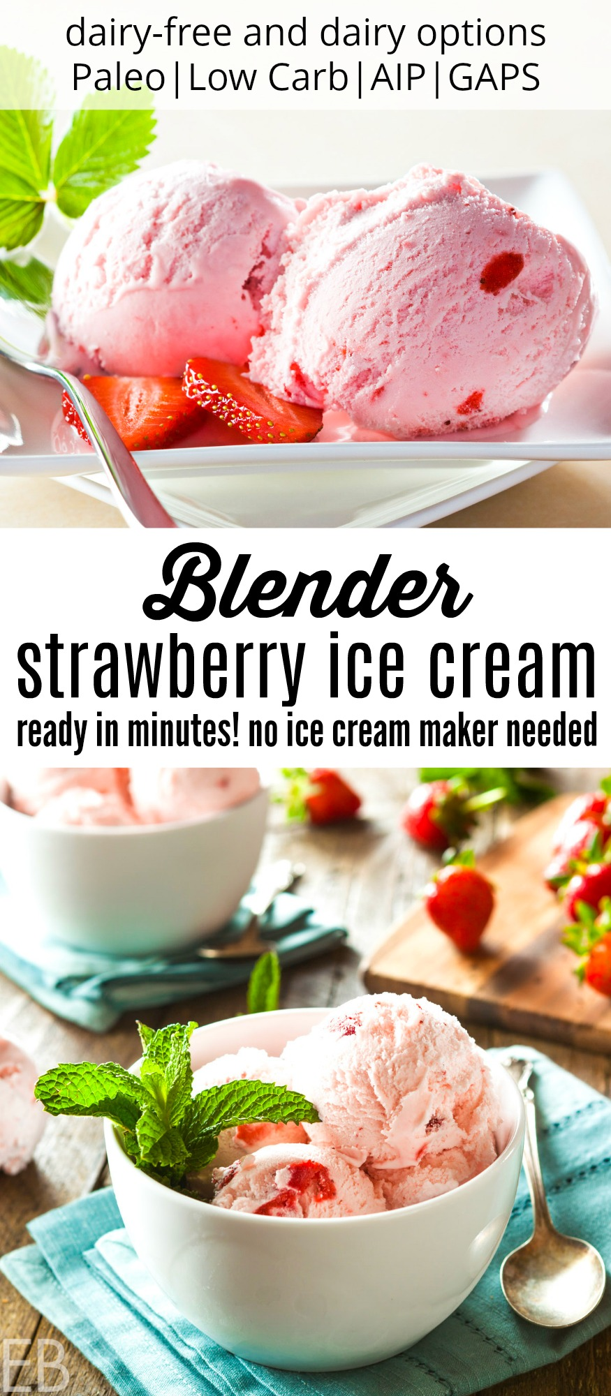 scoops of strawberry blender ice cream in a white bowl
