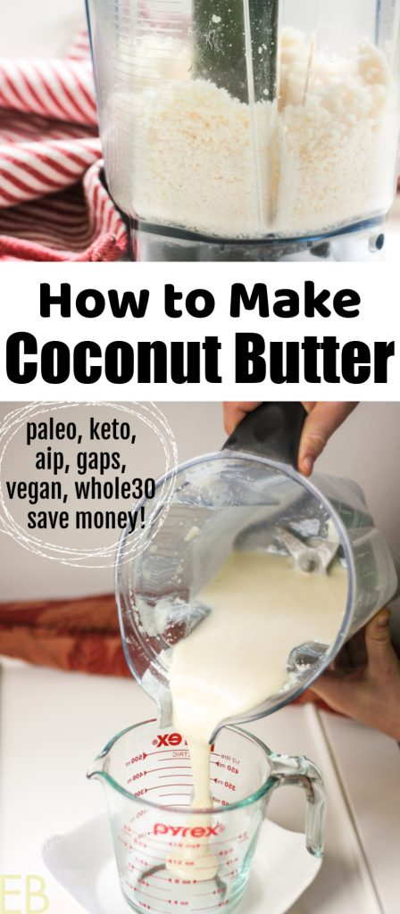how to make coconut butter recipe is shown with blender pouring out coconut butter and a second image shows unsweetened dried coconut before it is processed in the blender