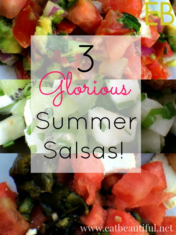 I have always liked to eat salsa like soup, with a spoon- and lots of it.  Here are three fruit and veggie summer salsas that provide super exciting condiment options. Adding one of these salsas to any grilled, sauteed or roasted meat makes an instantly special meal. We oohed and awed our way through all of these meals pictured: sauteed fresh fish, grilled tenderloin steak and roasted chicken were all in their full glory.  We usually eat pretty simply, such busy lives and a real budget (how about you?)... and find that simple whole foods work best. Adding in these salsas is fast, economical and yet! the result makes the whole meal amazingly delicious.