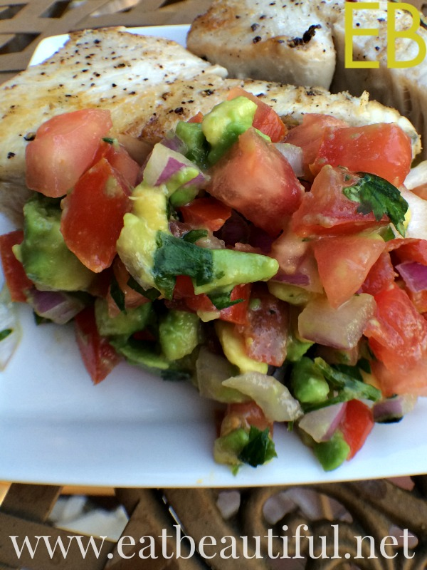 This is my sister's recipe. We first had it for brunch, with scrambled eggs and bacon. It quickly took the rank as my all-time favorite pico de gallo recipe! The avocado makes it perfect! Sublime.