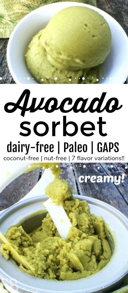 Avocado Sorbet is a totally revolutionary dessert treat! It's just like ice cream but it fits most food restrictions (though you'd never know!!) because it's dairy-free, nut-free, coconut-free and sweetened with honey. You'll LOVE the flavor variations, too: Peppermint, Mint Chocolate Chip, Dark Chocolate, Lime, Fresh Herb, Ice Cream and Berry. Oh my swoon! Plus the original flavor: Avocado-Vanilla! These creamy delights are good enough to serve to friends ... yet you COULD eat them for breakfast on a sunny morning! Wink, wink. Or we LOVE them on a hot afternoon! #avocado #paleoicecream #gapsdiet