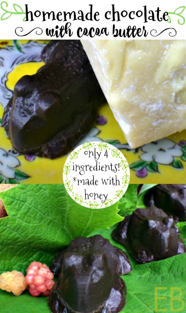 Homemade Chocolate with Cocoa Butter~ truly the healthiest chocolate, easy to make and fun! Sweetened with honey, Paleo, dairy-free, GAPS...and a link to those fun chocolate frog molds! #homemadechocolate #paleochocolate #cocoabutterchocolate #diychocolate #honeychocolate