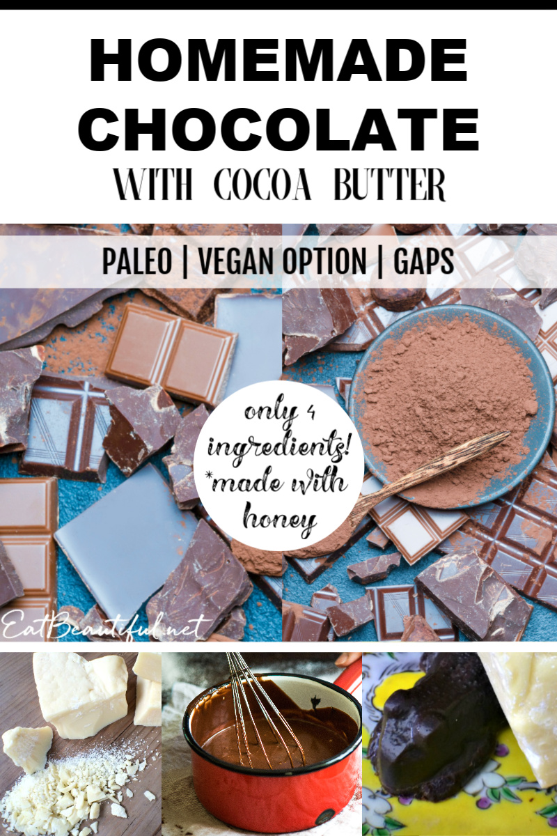 banner with collage of photos for homemade chocolate with cocoa butter