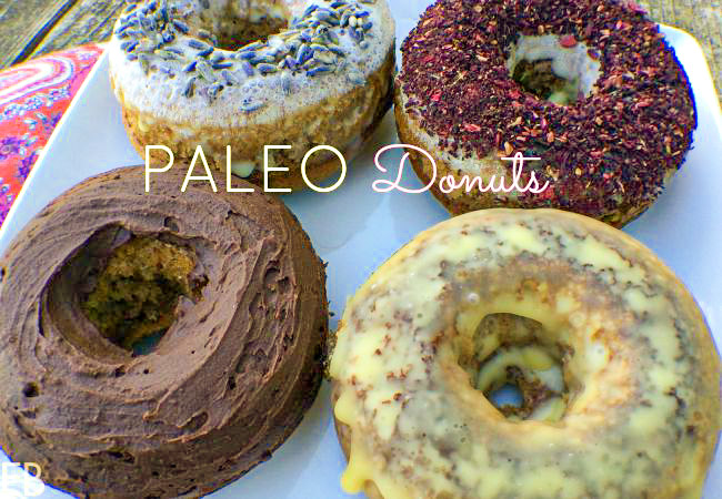 4 keto paleo donuts with different toppings