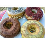 4 paleo keto donuts with different toppings