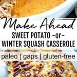 sweet potato winter squash casserole with pecan topping