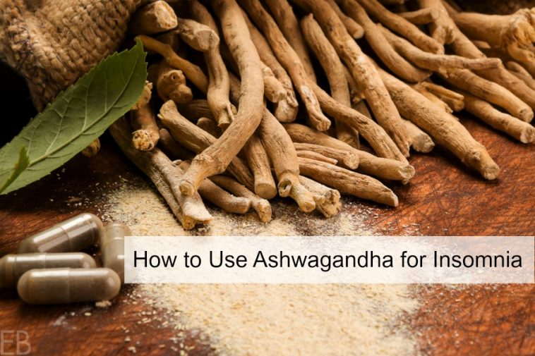 ashwagandha roots and capsules for insomnia with banner