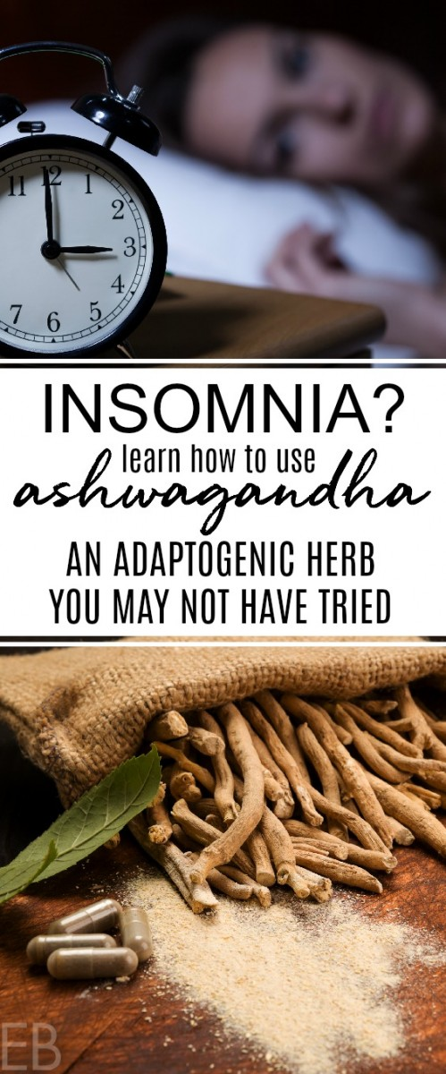 woman wide awake in the middle of the night and ashwagandha root and capsules