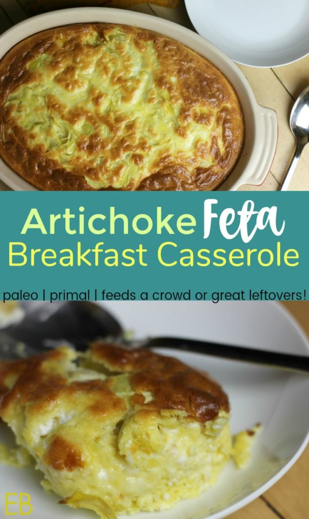 Artichoke Feta Breakfast Casserole~ Paleo, Primal and a GAPS Diet variation. This is the perfect main dish for breakfast, brunch or even dinner. It's rich and super satisfying. It's special, and it's beautiful. And the prep time is only 20 minutes! Perfect for guests, or serve to family and have leftovers!