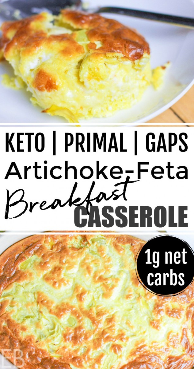 one serving of keto breakfast casserole on a white plate