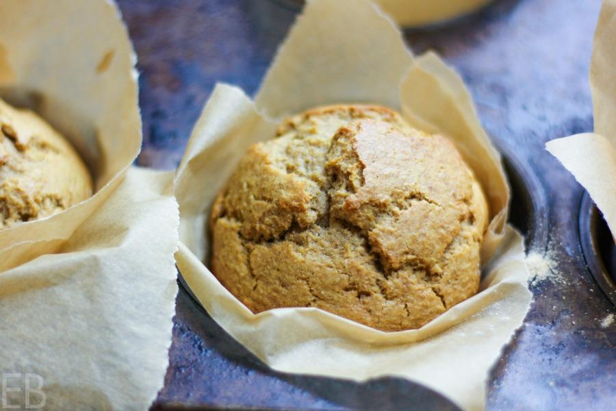 one butternut squash muffin in pan