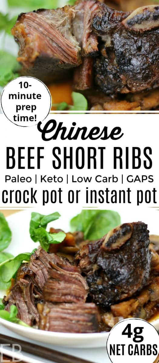 a dish of keto low carb paleo beef short ribs with greens in a white dish