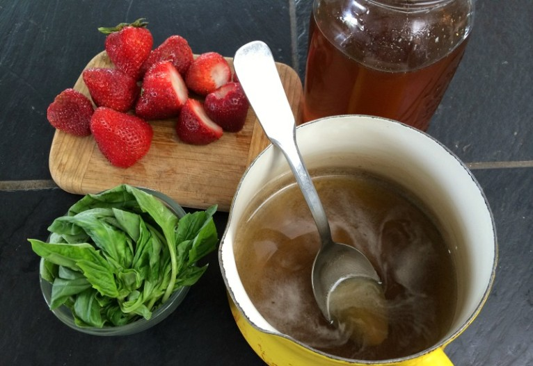 Basil Simple Syrup with Macerated Strawberries and Cultured Cream