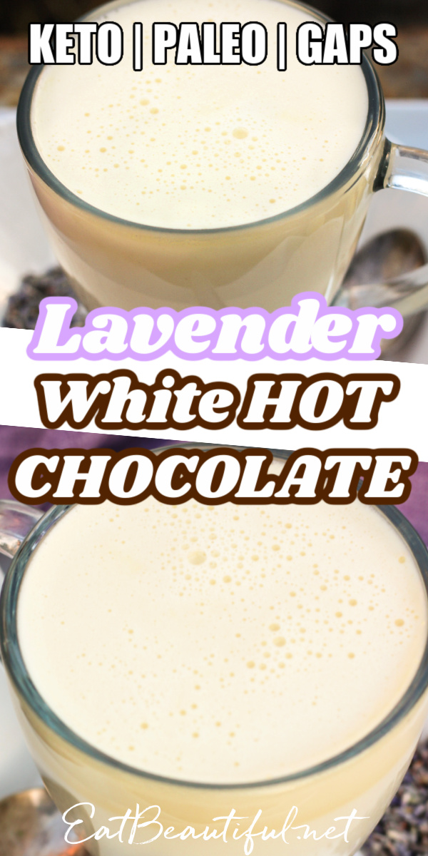two photos of lavender white hot chocolate with banner and words in the middle
