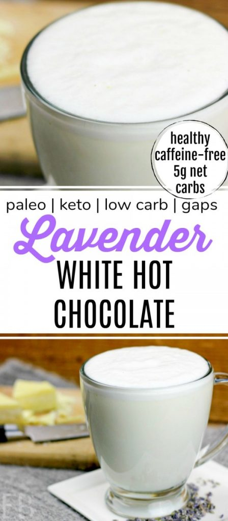 two mugs of lavender white hot chocolate