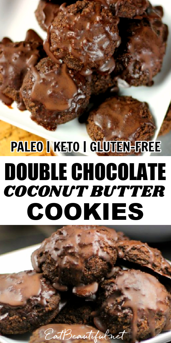 two images of double chocolate coconut butter cookies with banner in the middle