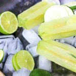 a tray with paleo mojito popsicles and ice