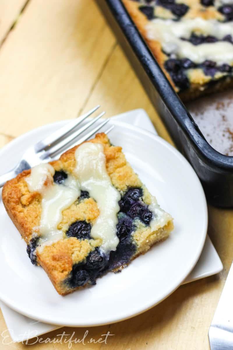 aip lemon blueberry coffeecake on a white plate