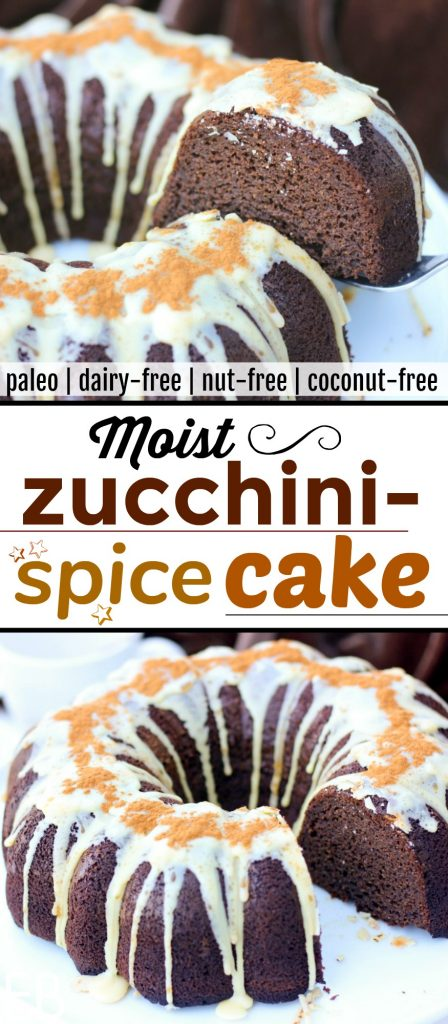 "Paleo Moistest Zucchini Spice Cake is delicious!! It's a fun one to serve to friends and family. The glaze is lovely, or there's a ""carob frosting for one"" recipe to use! Dairy-free, nut-free and coconut-free! #paleodessert #paleocake #zucchinicake #glutenfreecake #spicecake"