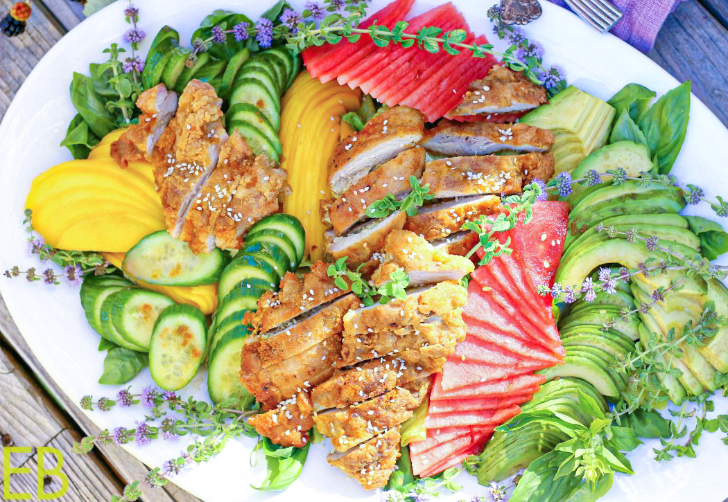 overhead view of fried chicken salad